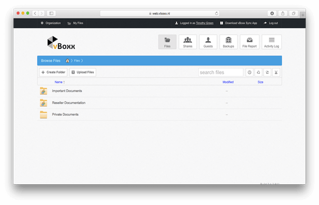 access your files via web interface with vBoxxCloud