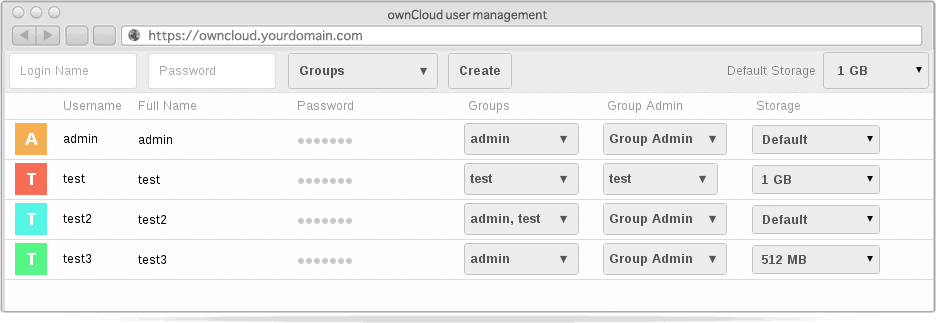 owncloud admin interface